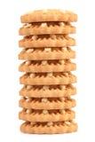 Pila di biscotto a forma di della fragola del cuore. Fotografie Stock