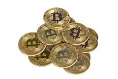 Pila di bitcoin dell'oro Immagine Stock