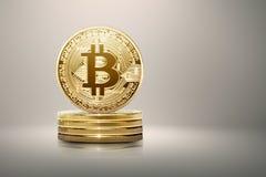 Pila di bitcoin dell'oro Fotografia Stock Libera da Diritti