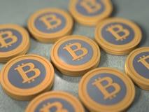 Pila di Bitcoins Fotografia Stock Libera da Diritti