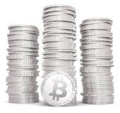 Pila di bitcoins d'argento Fotografia Stock