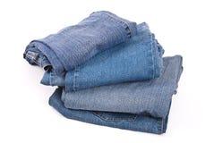 Pila di blue jeans Fotografie Stock Libere da Diritti
