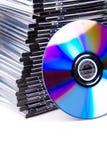 Pila di CD-caselle con CD Immagini Stock