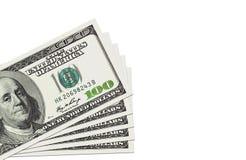 Pila di cento fatture dei dollari Immagine Stock