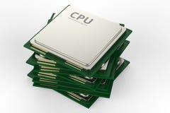 Pila di chip del CPU Immagine Stock