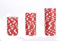 Pila di chip di mazza di colore rosso Fotografia Stock Libera da Diritti