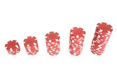 Pila di chip di mazza di colore rosso Immagine Stock