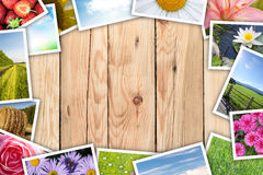 Pila di collage stampato delle immagini Fotografie Stock