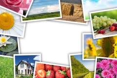 Pila di collage stampato delle immagini Fotografie Stock Libere da Diritti