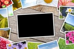 Pila di collage stampato delle immagini Immagini Stock