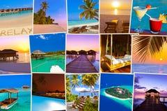 Pila di colpi della spiaggia delle Maldive (le mie foto) Immagine Stock