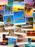 Pila di colpi della spiaggia delle Maldive le mie foto Fotografia Stock