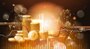 Pila di concetto cripto dorato dei soldi di web di valuta di Bitcoins Fotografia Stock Libera da Diritti
