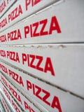 Pila di contenitori di pizza Fotografia Stock