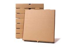 Pila di contenitori marroni di pizza con la scatola di presentazione Fotografia Stock Libera da Diritti