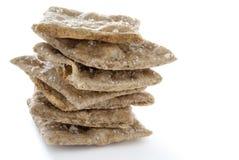 Pila di cracker casalinghi del grano intero Fotografia Stock