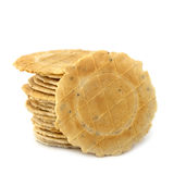 Pila di cracker isolati Fotografia Stock Libera da Diritti