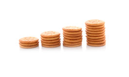 Pila di cracker rotondi su bianco Fotografia Stock Libera da Diritti