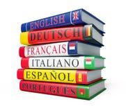 Pila di dizionari isolati Fotografia Stock