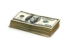 Pila di dollari americani isolati Immagine Stock