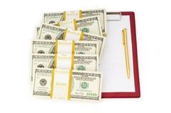 Pila di dollari e di spazio in bianco Fotografia Stock