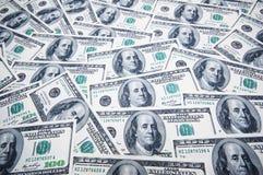 Pila di dollari su soldi Immagine Stock Libera da Diritti