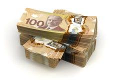 Pila di dollaro canadese Fotografia Stock Libera da Diritti