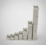 Pila di dollaro U.S.A. isolata su fondo grigio Fotografia Stock Libera da Diritti