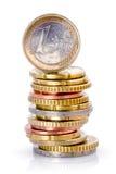 Pila di euro monete Fotografia Stock Libera da Diritti