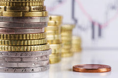 Pila di euro monete. Fotografia Stock Libera da Diritti