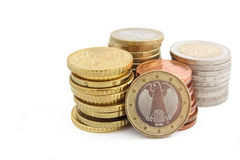 Pila di euro monete tedesche Fotografia Stock