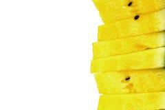 Pila di fette gialle dell'anguria Fotografia Stock Libera da Diritti