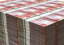 Pila di Hong Kong Dollar Notes Bundles Fotografie Stock