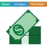 Pila di icona delle banconote Immagine Stock Libera da Diritti