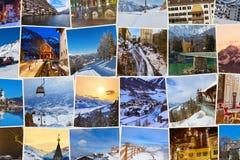 Pila di immagini dell'Austria dello sci delle montagne (le mie foto) Immagini Stock