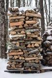 Pila di legna da ardere in neve Fotografie Stock