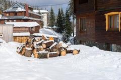 Pila di legno tagliato su una neve Immagine Stock Libera da Diritti
