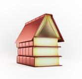 Pila di libri che formano una casa Fotografia Stock