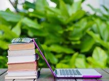 Pila di libri con il computer portatile Fotografia Stock