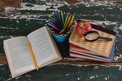 Pila di libri con la mela, la lente d'ingrandimento ed il supporto della penna Immagini Stock