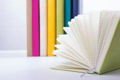 Pila di libri del hadrback su fondo bianco Concetto di istruzione delle biblioteche Di nuovo al banco Copi lo spazio fotografia stock