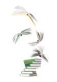 Pila di libri e di libri di volo Fotografia Stock Libera da Diritti