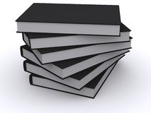 Pila di libri neri Immagini Stock