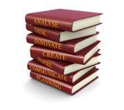 Pila di libri relativi di successo (percorso di ritaglio incluso) Fotografia Stock