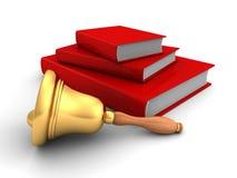 Pila di libri rossa con la maniglia Bell della scuola Fotografie Stock Libere da Diritti
