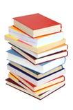 Pila di libri su bianco Fotografia Stock