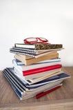 Pila di libri sullo scaffale Immagine Stock