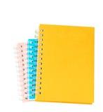 Pila di libro o di taccuino del raccoglitore di anello isolato su bianco Fotografie Stock