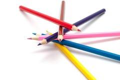 Pila di matite colorate immagine stock
