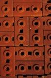 Pila di mattoni dell'argilla rossa Fotografia Stock